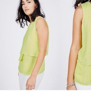 Triple layer bright yellow/green blouse. Pop!